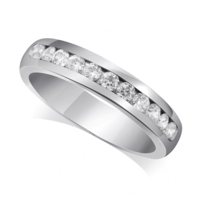 9ct White Gold Ladies Court Shape 4mm Channel Set Diamond Half Eternity Ring Set with 0.50ct of Diamonds