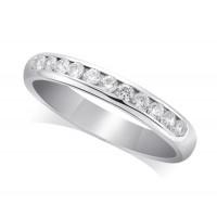 9ct White Gold Ladies Court Shape 3mm Channel Set Diamond Half Eternity Ring Set with 0.33ct of Diamonds