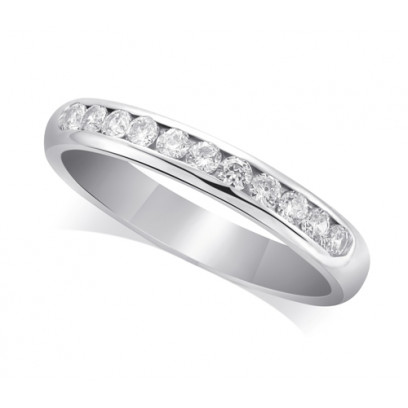 9ct White Gold Ladies Court Shape 3mm Channel Set Diamond Half Eternity Ring Set with 0.33ct of Diamonds