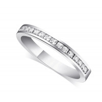 9ct White Gold Ladies 3mm Channel Set Princess Cut Diamond Eternity Ring Set with 0.34ct of Diamonds