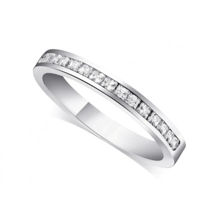 9ct White Gold Ladies 3mm Channel Set Princess Cut Diamond Eternity Ring Set with 0.34ct of Diamonds