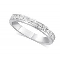 9ct White Gold Ladies 3mm Channel Set Princess Cut Diamond Eternity Ring Set with 0.70ct of Diamonds