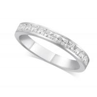 9ct White Gold Ladies 3mm Channel Set Princess Cut Diamond Eternity Ring Set with 0.70ct of Diamonds