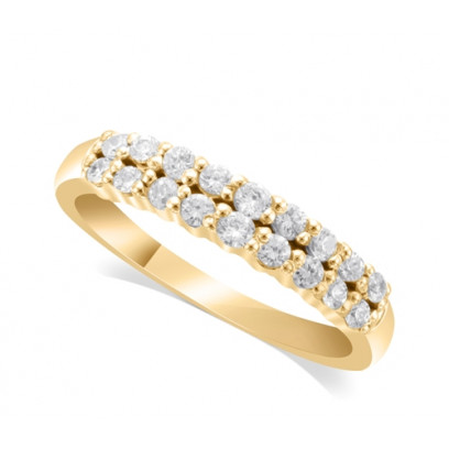 18ct Yellow Gold Ladies 4mm 2-Row Graduated Diamond Ring Set with 0.58ct of Diamonds