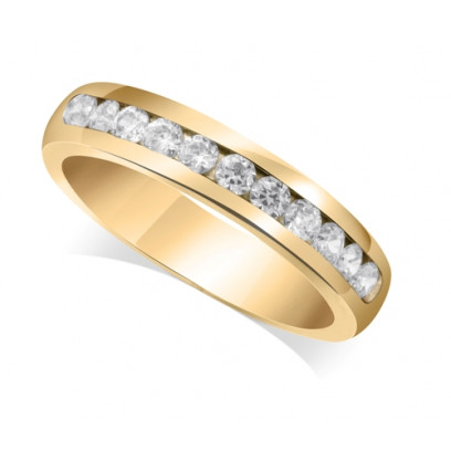 18ct Yellow Gold Ladies Court Shape 4mm Channel Set Diamond Half Eternity Ring Set with 0.50ct of Diamonds