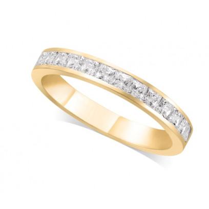18ct Yellow Gold Ladies 3mm Channel Set Princess Cut Diamond Eternity Ring Set with 0.70ct of Diamonds