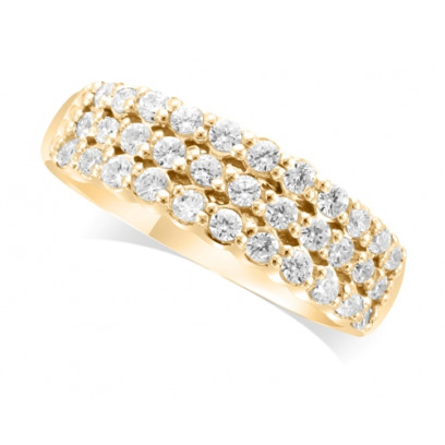 18ct Yellow Gold Ladies 6.5mm wide 3-Row Diamond Wedding Ring Set with 0.70ct of Diamonds