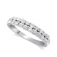 18ct White Gold Ladies 4mm 2-Row Graduated Diamond Ring Set with 0.58ct of Diamonds