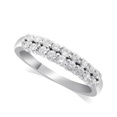 18ct White Gold Ladies 4mm 2-Row Graduated Diamond Ring Set with 0.58ct of Diamonds