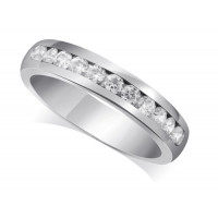 18ct White Gold Ladies Court Shape 4mm Channel Set Diamond Half Eternity Ring Set with 0.50ct of Diamonds