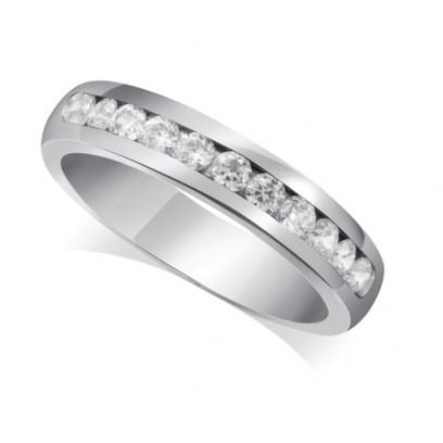 18ct White Gold Ladies Court Shape 4mm Channel Set Diamond Half Eternity Ring Set with 0.50ct of Diamonds