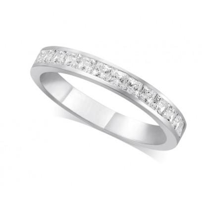 18ct White Gold Ladies 3mm Channel Set Princess Cut Diamond Eternity Ring Set with 0.70ct of Diamonds