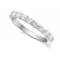 Platinum Ladies 7-Stone Diamond Wedding Ring with Inverted Shoulders and 0.35ct of Diamonds