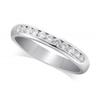 Platinum Ladies Court Shape 3mm Channel Set Diamond Half Eternity Ring Set with 0.33ct of Diamonds