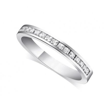 Platinum Ladies 3mm Channel Set Princess Cut Diamond Eternity Ring Set with 0.34ct of Diamonds