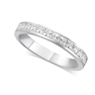Palladium Ladies 3mm Channel Set Princess Cut Diamond Eternity Ring Set with 0.70ct of Diamonds
