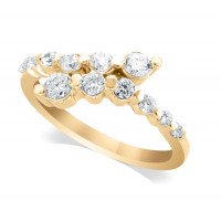9ct Yellow Gold Ladies Claw-set Crossover Diamond Ring Set with 0.55ct of Diamonds