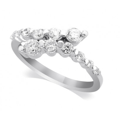 9ct White Gold Ladies Claw-set Crossover Diamond Ring Set with 0.55ct of Diamonds