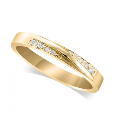 18ct Yellow Gold Ladies 3.5mm Band Crossover Diamond Ring Set with 0.04ct of Diamonds On Each Side Of The Ridge