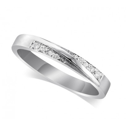 Platinum Ladies 3.5mm Band Crossover Diamond Ring Set with 0.04ct of Diamonds On Each Side Of The Ridge