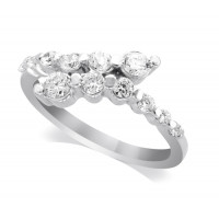 Palladium Ladies Claw-set Crossover Diamond Ring Set with 0.55ct of Diamonds