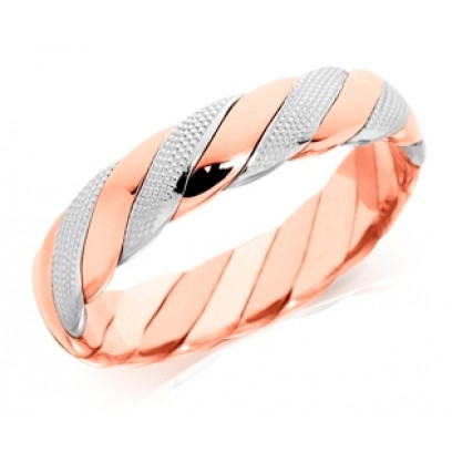9ct Rose and White Gold Gents 5mm Twisted Wedding Ring with Beading on the White Gold