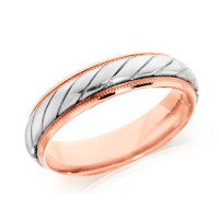 18ct Rose and White Gold Gents 5mm Wedding Ring with Twisted Centre and Beaded Edges