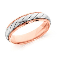 9ct Rose and White Gold Gents 5mm Wedding Ring with Twisted Centre and Beaded Edges