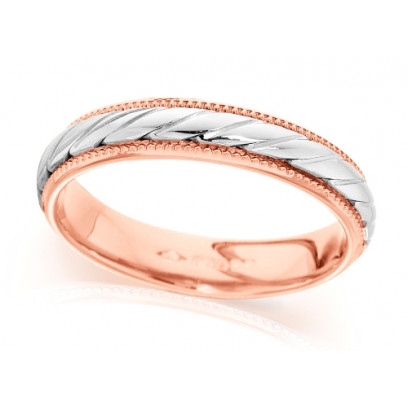 18ct Rose and White Gold Ladies 4mm Wedding Ring with Twisted Centre and Beaded Edges