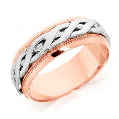 18ct Rose and White Gold Gents 8mm Ring with Plaited Centre and Beaded Edges
