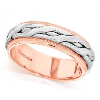 9ct Rose and White Gold Ladies 6mm Ring with Plaited Centre and Beaded Edges