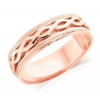 18ct Rose and White Gold Ladies 5mm Ring with Twisted Centre and Beaded Edges
