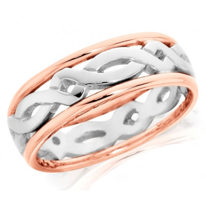 9ct Rose and White Gold Ladies 5mm Ring with Celtic Twist Centre and Plain Edges