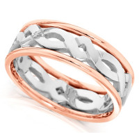 9ct Rose and White Gold Gents 7mm Ring with Celtic Twist Centre and Plain Edges