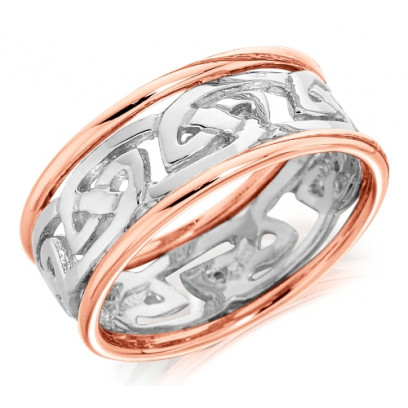 9ct Rose and White Gold Ladies 6mm Ring with Celtic Style Centre and Plain Edges
