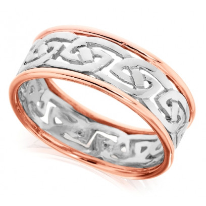 9ct Rose and White Gold Gents 8mm Ring with Celtic Style Centre and Plain Edges