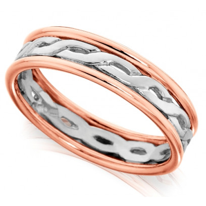 9ct Rose and White Gold Gents 7mm Ring with Twisted Centre and Plain Edges
