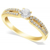 18ct Yellow Gold Ladies Beautiful Diamond Solitaire Ring Set with 0.30ct Diamond in the Centre and 20 Round Diamonds on Each Shoulder