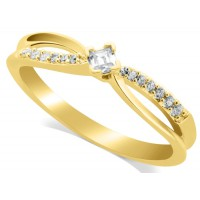 18ct Yellow Gold Ladies Solitaire Ring Set with 0.11ct Princess Cut Diamond and 7 Diamonds on Each Shoulder