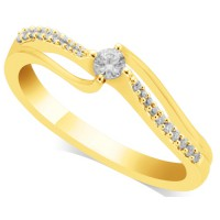 18ct Yellow Gold Ladies Solitaire Ring Set with 0.10ct Centre Diamond and 10 Round Diamonds on Each Shoulder