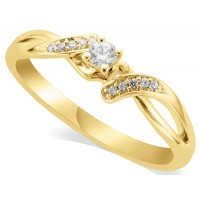 18ct Yellow Gold Ladies Diamond Solitaire Ring Set with 0.09ct Centre Diamond and with 5 Round Diamonds on Each Shoulder