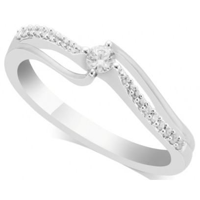 18ct White Gold Ladies Solitaire Ring Set with 0.10ct Centre Diamond and 10 Round Diamonds on Each Shoulder