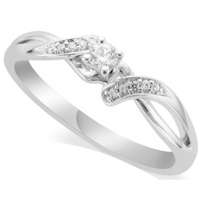 18ct White Gold Ladies Diamond Solitaire Ring Set with 0.09ct Centre Diamond and with 5 Round Diamonds on Each Shoulder
