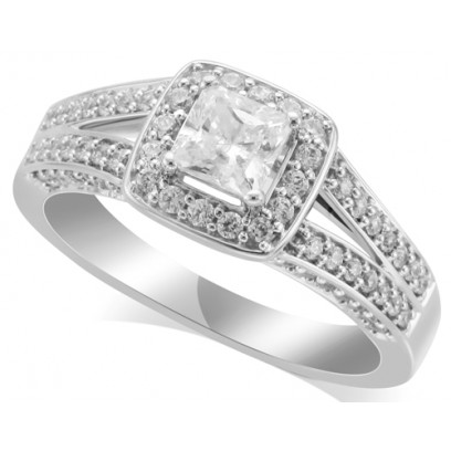 18ct White Gold Ladies Magnificent Diamond Engagement Ring Set with 1.03ct of Diamonds