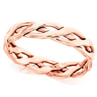 18ct Rose Gold Ladies 4mm Open Celtic Plait Wedding Ring