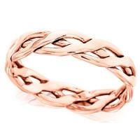 18ct Rose Gold Ladies 4mm Open Celtic Plait Wedding Ring