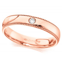 9ct Rose Gold Ladies 4mm Wedding Ring Set with Single 2pt Diamond and with Beaded Edges