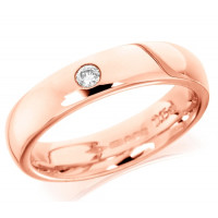 9ct Rose Gold Ladies Plain 4mm Wedding Ring Set with Single 5pt Diamond