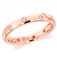 9ct Rose Gold Ladies 3mm Wedding Ring with Alternate Set Diamonds All Around, Total Diamond Weight 15pts