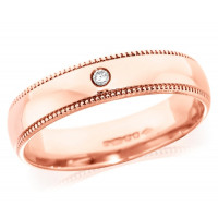 18ct Rose Gold Gents 5mm Wedding Ring Set with Single 3pt Diamond and with Beaded Edges